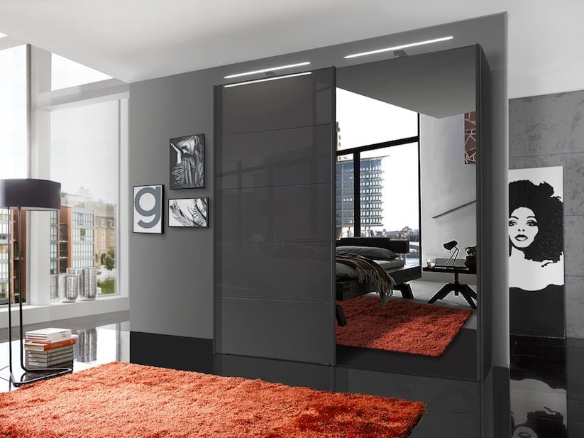 instrument Cali sliding mirror wardrobe 200cm [Havana] - INSTRUMENT FURNITURE