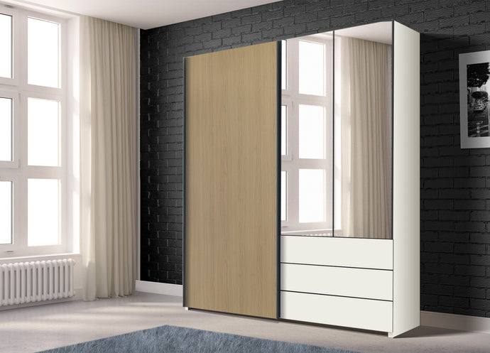 instrument PERLA combi wardrobe 200cm [Honey Oak] - INSTRUMENT FURNITURE