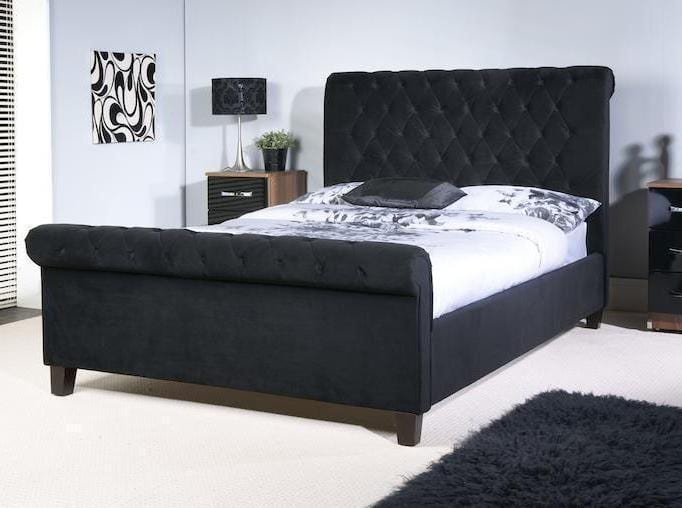 instrument ISEO black velvet bed frame - INSTRUMENT FURNITURE
