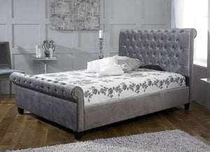 instrument ISEO silver velvet bed frame - INSTRUMENT FURNITURE