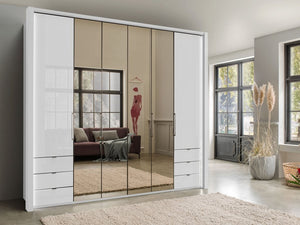 instrument FREYA bi-folding door wardrobe with drawers 250cm [white] - INSTRUMENT FURNITURE