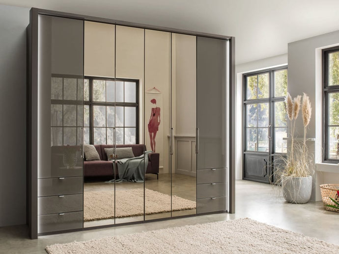 instrument FREYA bi-folding door wardrobe with drawers 250cm [havana] - INSTRUMENT FURNITURE