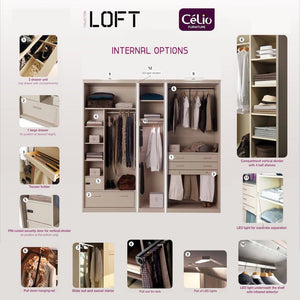 instrument LOFT wardrobe 160cm [White finish] - INSTRUMENT FURNITURE