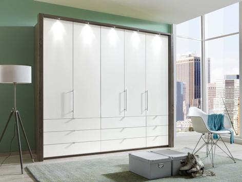 instrument Rosario bi-folding wardrobe with drawers 250cm [White] - INSTRUMENT FURNITURE