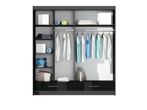 instrument MARSYLIA wardrobe [black gloss + mirror][208cm] - INSTRUMENT FURNITURE