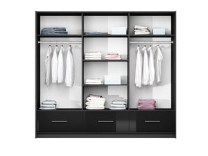 instrument MARSYLIA wardrobe [black gloss + mirror][255cm] - INSTRUMENT FURNITURE