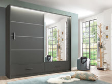 instrument LENOX mirror wardrobe 208cm [graphite grey matt] - INSTRUMENT FURNITURE