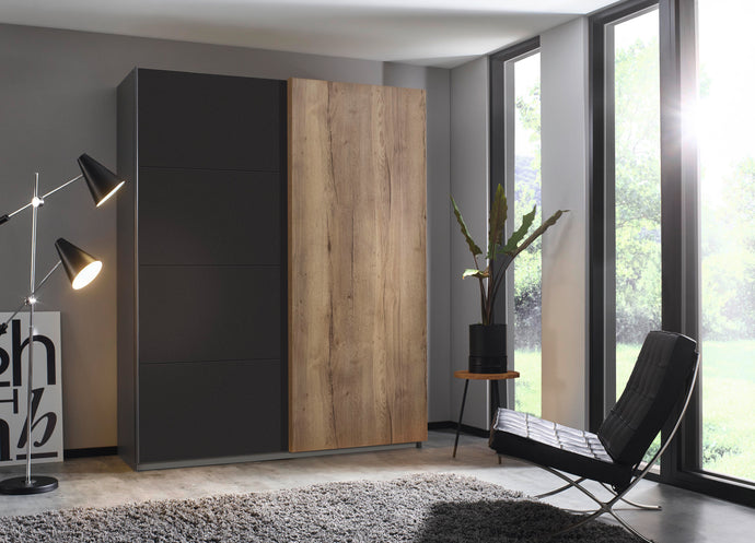 instrument Helix sliding wardrobe 181cm [Matt Metallic Grey] - INSTRUMENT FURNITURE