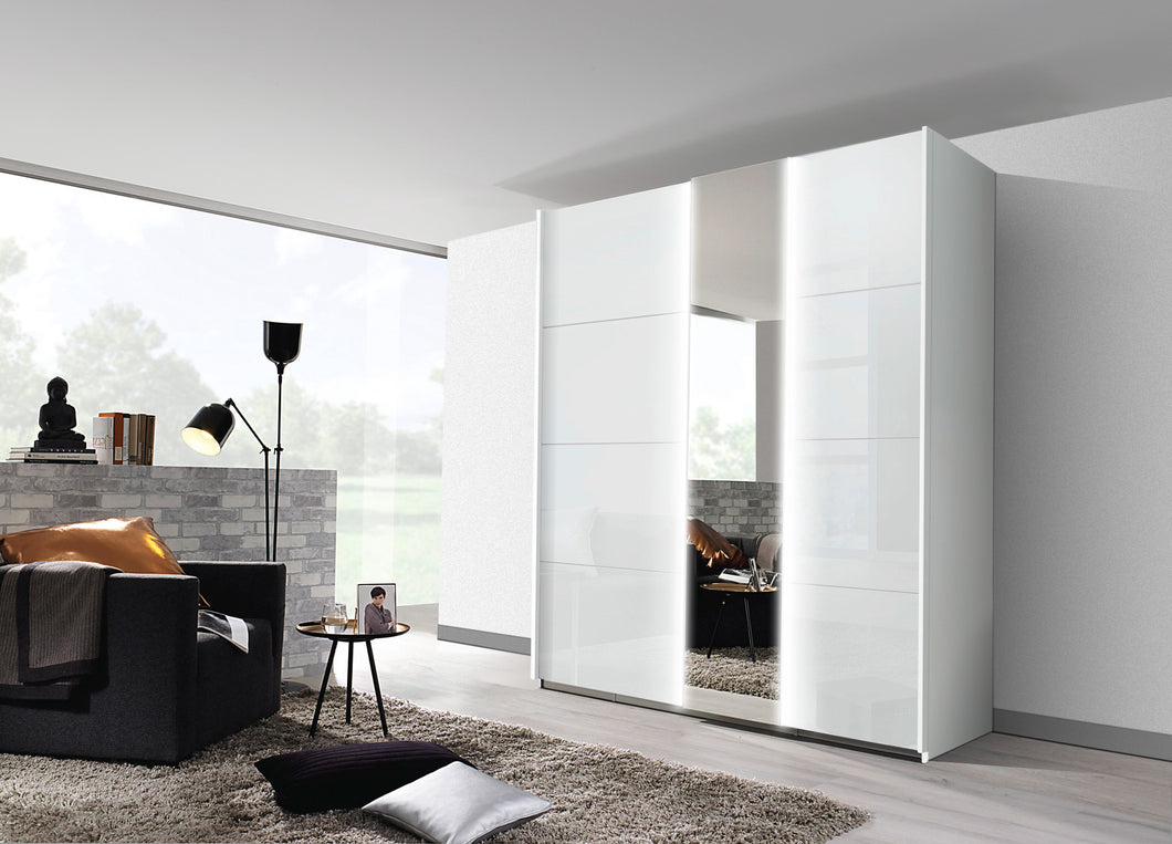 instrument Tate-1 sliding wardrobe 181cm [Glass Crystal White] - INSTRUMENT FURNITURE