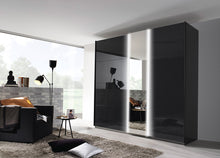 instrument Tate-1 sliding wardrobe 226cm [Glass Basalt] - INSTRUMENT FURNITURE