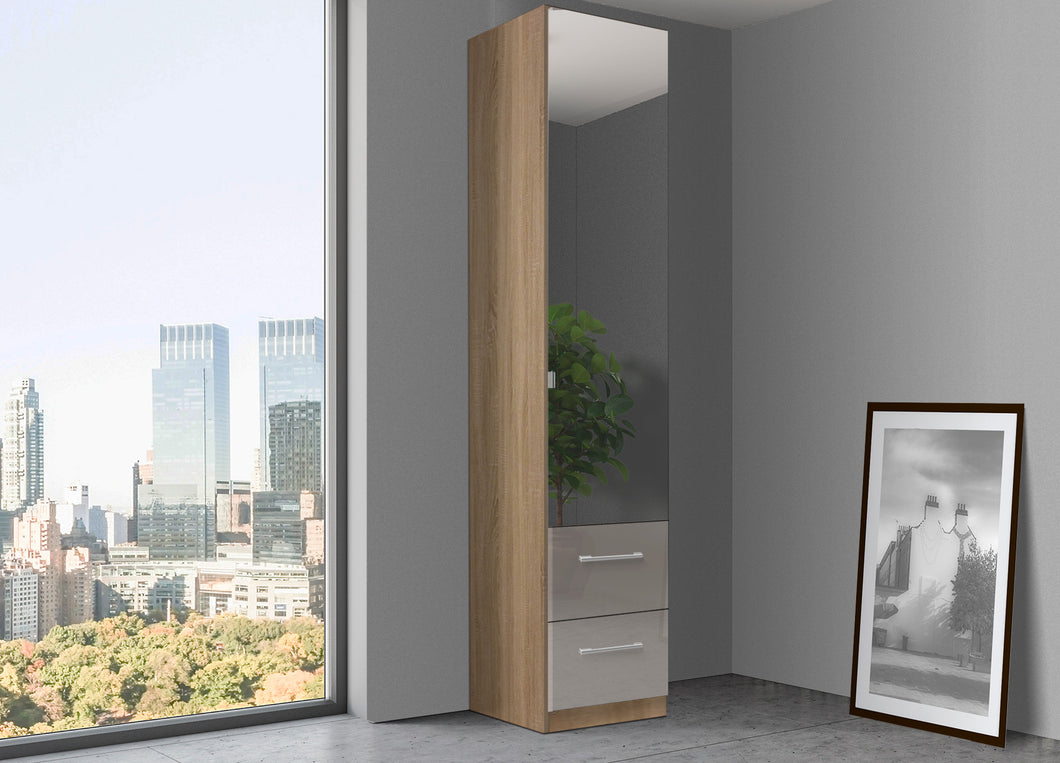instrument Bronx hinged wardrobe 47cm with drawers [Fango Glass] - INSTRUMENT FURNITURE