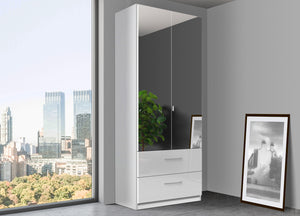 instrument Bronx hinged wardrobe 91cm with drawers [White] - INSTRUMENT FURNITURE