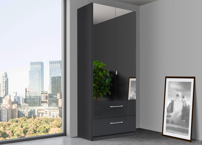 instrument Bronx hinged wardrobe 91cm with drawers [Basalt Glass] - INSTRUMENT FURNITURE