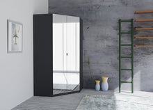 instrument Bronx hinged corner wardrobe 117cm [Basalt Glass] - INSTRUMENT FURNITURE