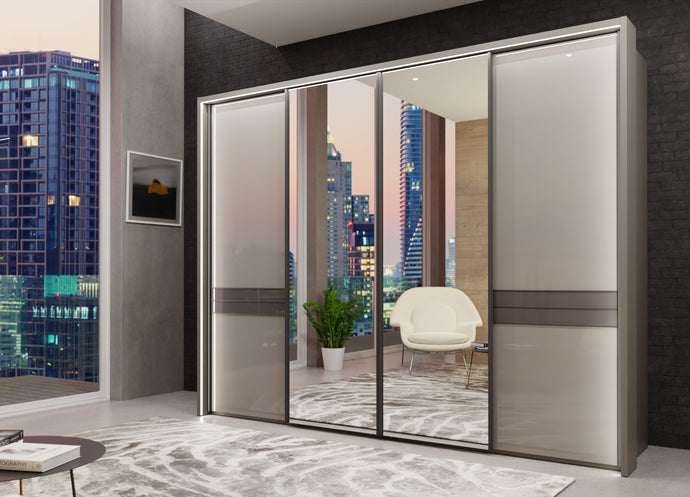 instrument Alexis sliding wardrobe with synchro doors 300cm [Glass Pebble Grey] - INSTRUMENT FURNITURE