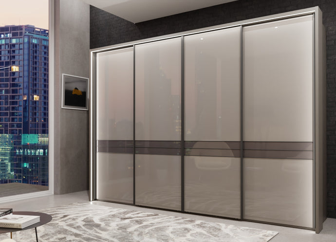 instrument Alexis sliding wardrobe with synchro doors 330cm [Glass Pebble Grey] - INSTRUMENT FURNITURE