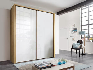 instrument Enzo sliding wardrobe 208cm [White Glass] - INSTRUMENT FURNITURE