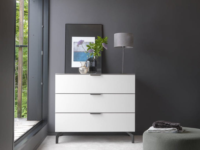 instrument PERLA chest of 3 drawers with glass top 98cm [Multicolour] - INSTRUMENT FURNITURE