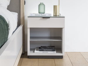 instrument PERLA bedside table 1 drawer with glass top [Multicolour] - INSTRUMENT FURNITURE