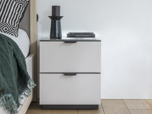 instrument PERLA bedside table 2 drawers with glass top [Multicolour] - INSTRUMENT FURNITURE
