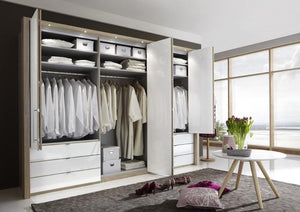 instrument Rosario bi-folding wardrobe with drawers 300cm [Pebble Grey] - INSTRUMENT FURNITURE