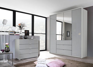 instrument ZARA-2 bi folding wardrobe 204cm [Silk Grey Glass] - INSTRUMENT FURNITURE