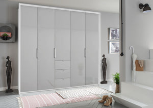 instrument ZARA-6 bi folding wardrobe 254cm [Silk Grey Glass] - INSTRUMENT FURNITURE