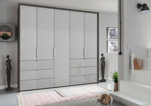 instrument ZARA-5 bi folding wardrobe 254cm [Silk Grey Glass] - INSTRUMENT FURNITURE