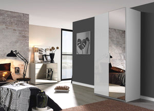 instrument Tate-3 hinged wardrobe 101cm [Glass Silk Grey] - INSTRUMENT FURNITURE