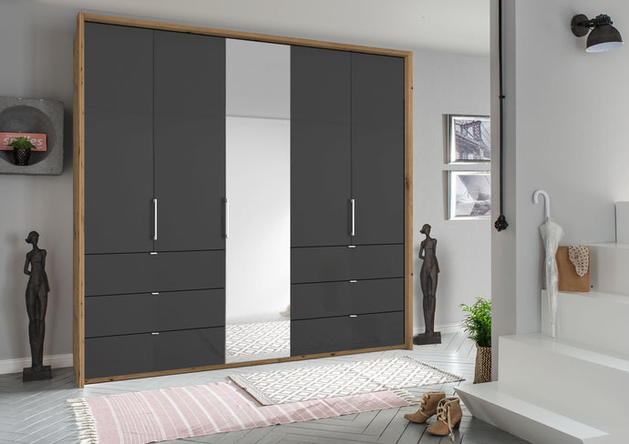 instrument ZARA-5 bi folding wardrobe 254cm [Basalt Glass] - INSTRUMENT FURNITURE