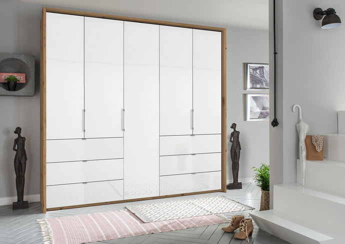instrument ZARA-5 bi folding wardrobe 254cm [Crystal White Glass] - INSTRUMENT FURNITURE