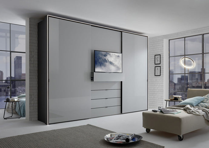 instrument Versa sliding wardrobe 298cm [light grey glass] - INSTRUMENT FURNITURE