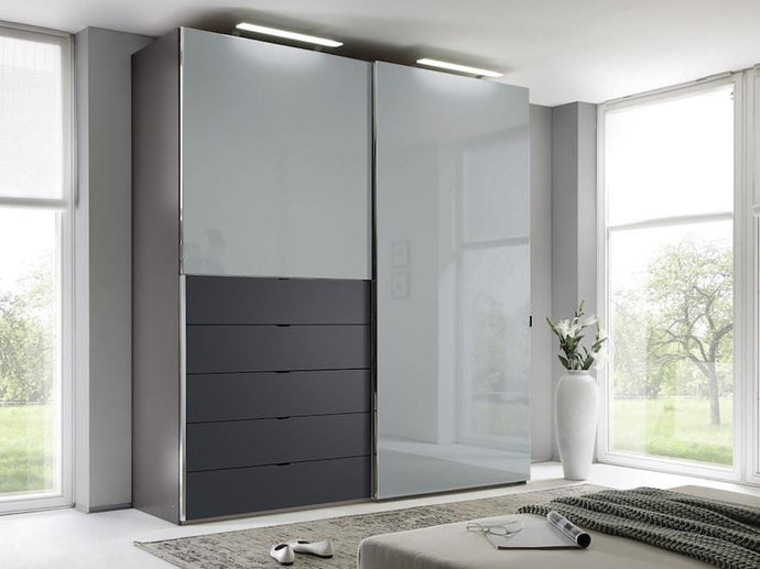 instrument Versa sliding wardrobe 225cm [light grey glass] - INSTRUMENT FURNITURE
