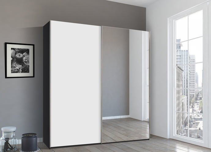 instrument Bronx sliding wardrobe 226cm [White] - INSTRUMENT FURNITURE