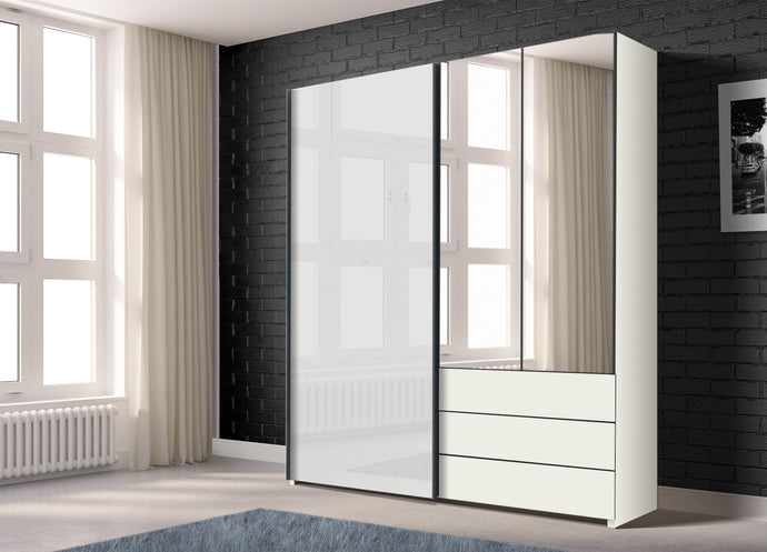 instrument PERLA combi wardrobe 200cm [White] - INSTRUMENT FURNITURE
