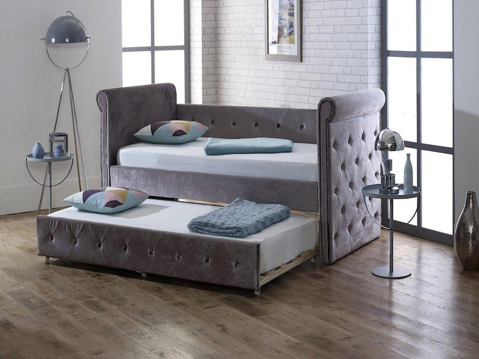instrument ARVO plush silver velvet day trundle bed - INSTRUMENT FURNITURE