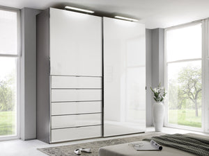 instrument Versa sliding wardrobe 225cm [alpine white glass] - INSTRUMENT FURNITURE