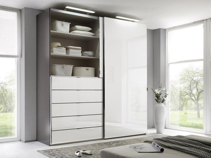 instrument Versa sliding wardrobe 167cm [alpine white glass] - INSTRUMENT FURNITURE