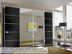 instrument Cali sliding wardrobe with synchro doors 400cm [Black] - INSTRUMENT FURNITURE