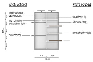 instrument CLEO 6 mirror wardrobe 120cm [white] - INSTRUMENT FURNITURE