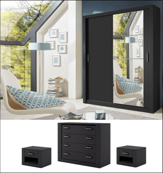 instrument CLEO 6 bedroom set 120cm [black] - INSTRUMENT FURNITURE