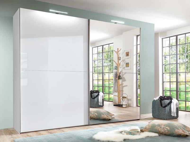 instrument COCO half mirror wardrobe 244cm [white gloss] - INSTRUMENT FURNITURE