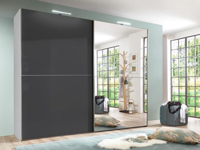 instrument COCO half mirror wardrobe 244cm [black gloss] - INSTRUMENT FURNITURE