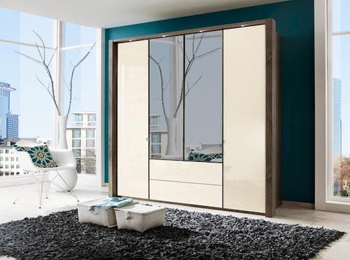instrument Eastside hinged wardrobe with drawers 200cm [Magnolia] - INSTRUMENT FURNITURE
