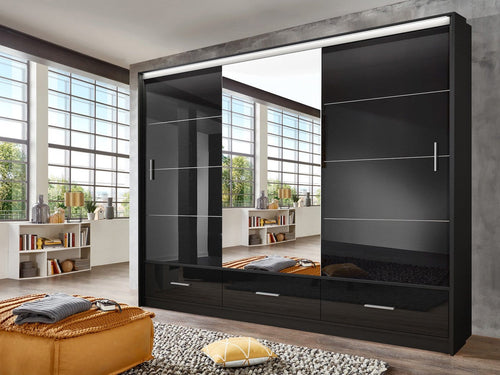 instrument LENOX sliding mirror wardrobe 255cm [black gloss] - INSTRUMENT FURNITURE