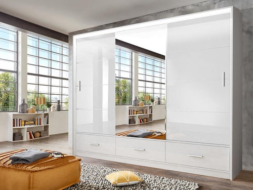 instrument LENOX sliding mirror wardrobe 255cm [white gloss] - INSTRUMENT FURNITURE