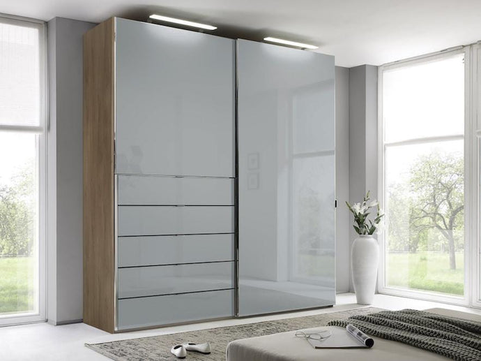 instrument Versa sliding wardrobe 200cm [light grey glass] - INSTRUMENT FURNITURE