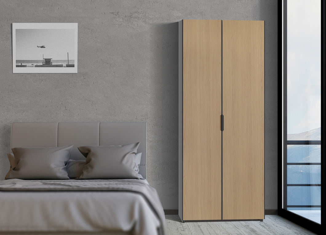 instrument PERLA hinged door wardrobe 80cm [Honey Oak] - INSTRUMENT FURNITURE