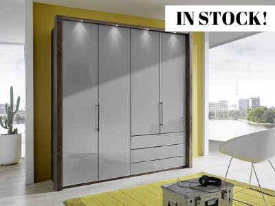instrument Rosario bi-folding wardrobe with drawers 200cm [Pebble Grey] IN STOCK - INSTRUMENT FURNITURE