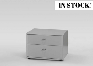 instrument Flex wide bedside [Pebble Grey Glass] - INSTRUMENT FURNITURE